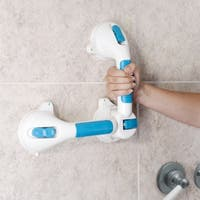 "Swivel Suction Shower Handle 20""- 180 Degree Rotation Locking Suction Cup Grab Bar with Dual Grip for Stability by Bluestone"