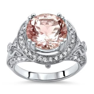 Noori 14k White Gold Pink Morganite and 3/4ct TDW Diamond Engagement Ring (G-H, I1-I2)
