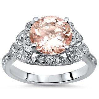 Noori 18k White Gold 1 3/5ct TGW Morganite and 1/2ct TDW Diamond Engagement Ring (F-G, SI1-SI2)