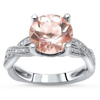 Noori 14k White Gold Morganite and 1/5ct TDW Diamond Engagement Ring (G-H, SI1-SI2)