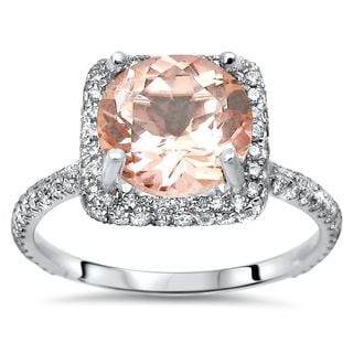 Noori 18k White Gold 5/8ct TDW Diamond and Pink Morganite Engagement Ring (G-H, SI1-SI2)