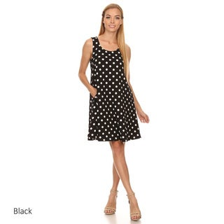 Women's Black and White Cotton Sleeveless Polka Dot Top