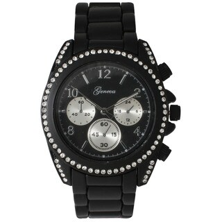 Olivia Pratt Boyfriend Rhinestone Bezel Bracelet Watch