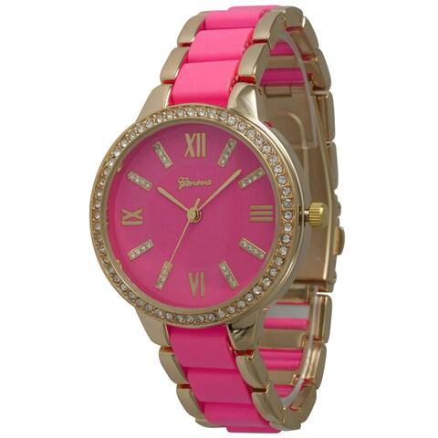 Olivia Pratt Colorful Rhinestone Bezel Bracelet Watch