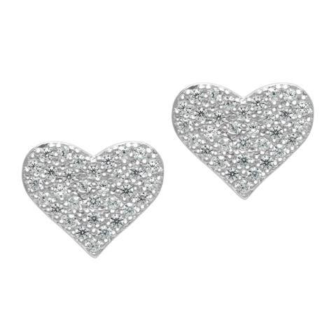 Roberto Martinez Micro Pave Heart Cubic Zirconia Stud Earrings - Silver