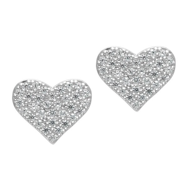 dd49f399eec Roberto Martinez Micro Pave Heart Cubic Zirconia Stud Earrings - Silver