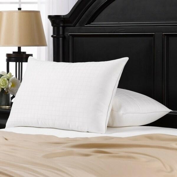 100% Cotton Windowpane Down-Alternative Gel Fiber Standard-Size Pillow (Set of 2)