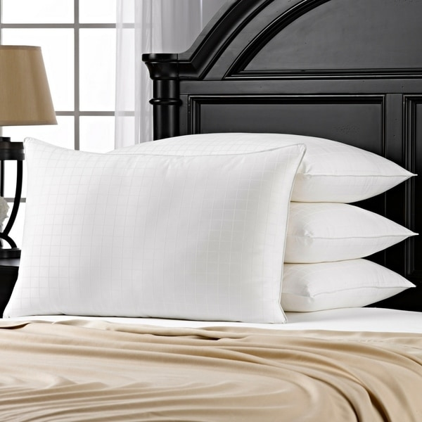 100% Cotton Windowpane Down-Alternative Gel Fiber King-Size Pillow (Set of 4)