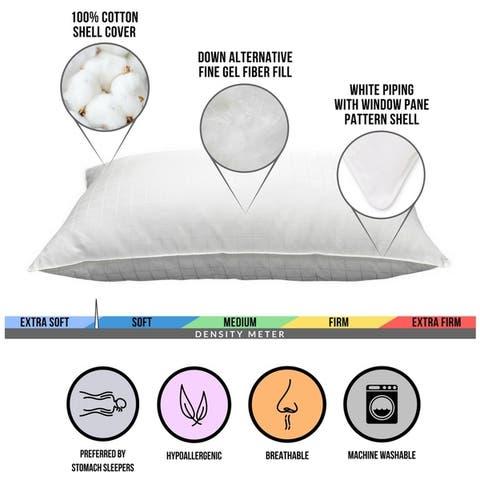100% Cotton Windowpane Down-Alternative Gel Fiber Pillow (Set of 4)