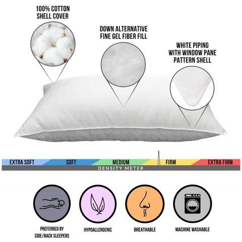 100% Cotton Windowpane Down-Alternative Gel Fiber Pillow (Set of 2)