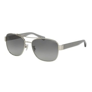 Coach Womens HC7064 L151 926411 Silver Metal Aviator Sunglasses