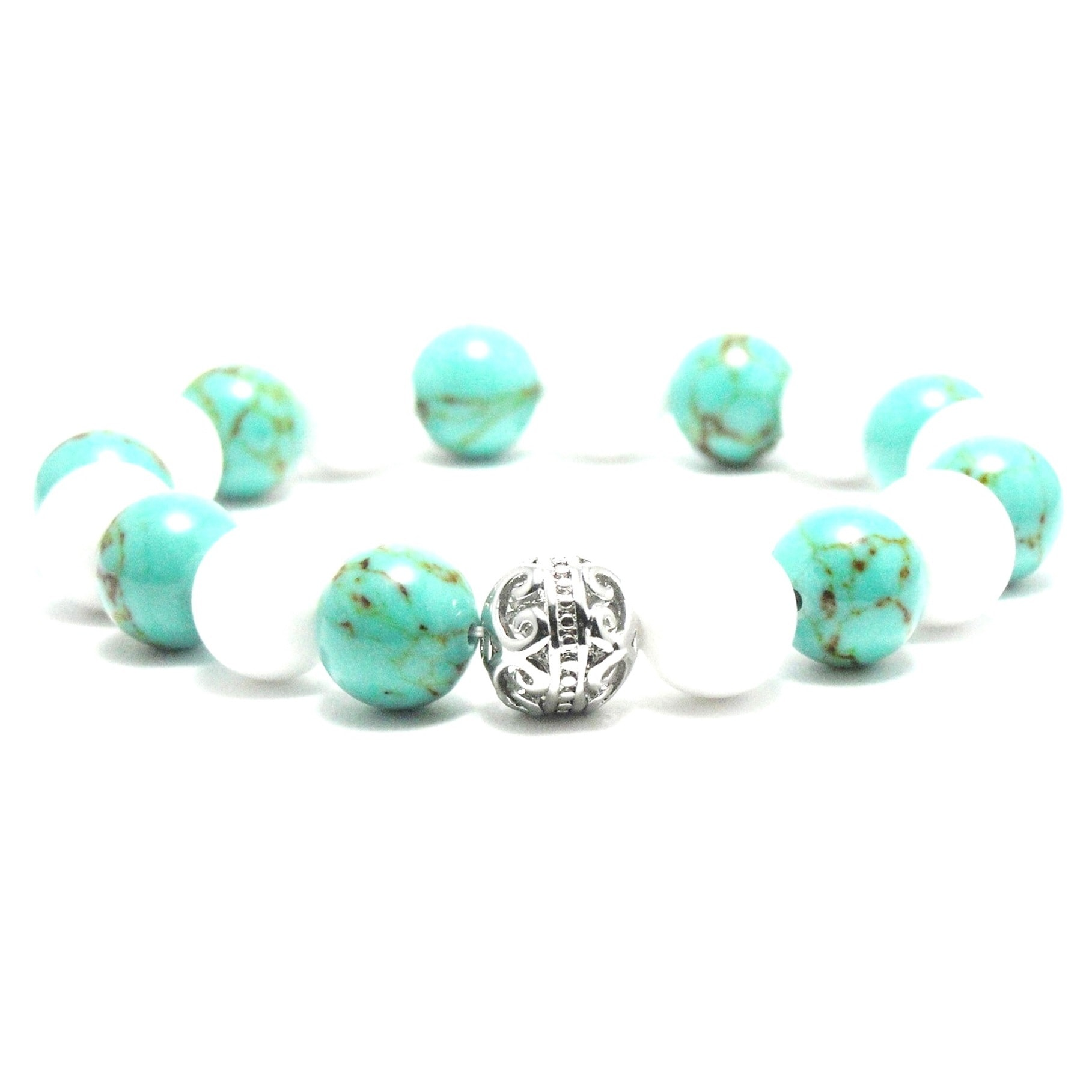 Aalilly Women's 10mm White and Black Turquoise Textured N...