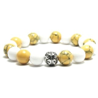 AALILLY Women's 10mm White and Khaki Marble Natural Beads Stretch Bracelet