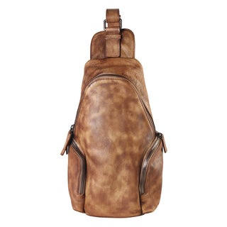 Rimen & Co. Genuine Leather Sling Backpack With Zippered Pockets