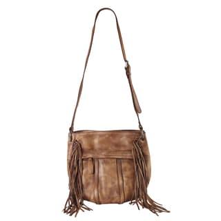 Rimen & Co. Genuine Leather Front Pocket Fringe Decor Bucket Crossbody Handbag