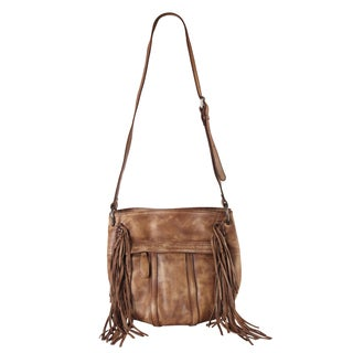 Rimen & Co. Genuine Leather Front Pocket Fringe Decor Bucket Crossbody Handbag