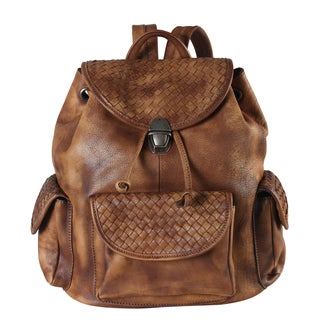 Rimen & Co. Genuine Leather Woven Side-pocket Fashion Backpack