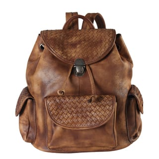 Rimen & Co. Genuine Leather Woven Side-pocket Fashion Backpack|https://ak1.ostkcdn.com/images/products/12343823/P19173118.jpg?impolicy=medium