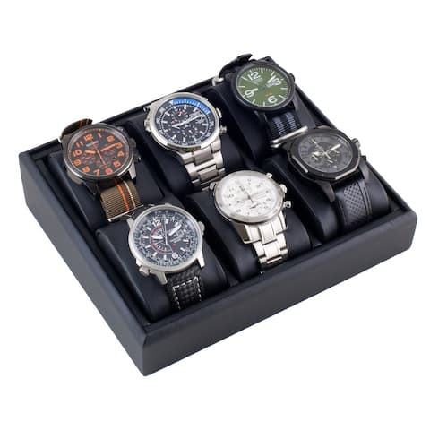 Caddy Bay Collection Black Angled Display Tray Watch Case for 6 Watches