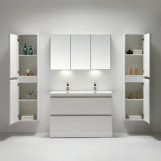 Eviva Glazzy High Gloss White 48-inch Double Sink Floor Mount Bathroom Vanity