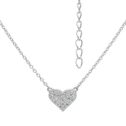 Roberto Martinez Sterling Silver Micro Pave Heart Cubic Zirconia Stud Necklace