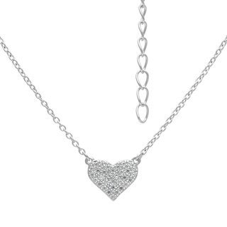 Sterling Silver Micro Pave Heart Cubic Zirconia Stud Necklace