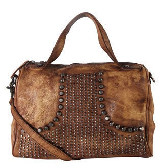 Rimen & Co. Genuine Leather Studded Design Decor Table Tote Bag