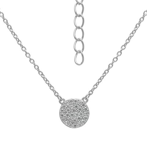 Roberto Martinez Sterling Silver Micro Pave Circle Cubic Zirconia Stud Necklace