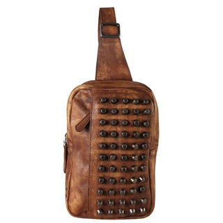 Diophy Genuine Leather Studded Zippered Pocket Fashion Backpack