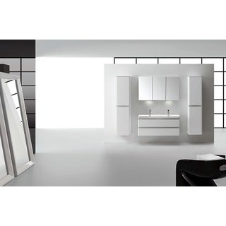 Eviva Glazzy High Gloss White 48-inch Wall Mount Double Sink Bathroom Vanity