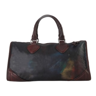 Diophy Distressed-style Genuine Leather Large Top-handle Tote Bag