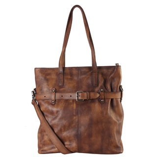 Diophy Genuine Leather Large Belted Buckle Tote Bag