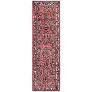 ecarpetgallery Hand-Knotted Sarough Pink Wool Rug (2'10 x 6'8)