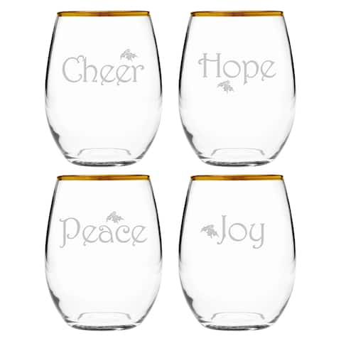 Holiday Sayings Gold-Rimmed Stemless Wine Glass (Set of 4)