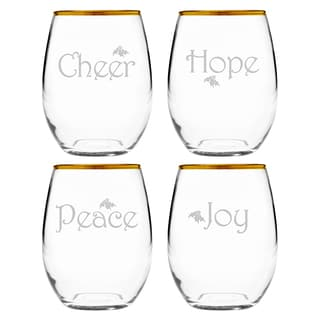 Holiday Sayings Gold-rimmed Stemless Wine (Set of 4)