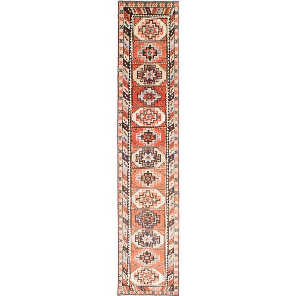 ecarpetgallery Hand-Knotted Ardabil Brown Wool Rug (2'3 x 12'8)
