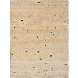 ecarpetgallery Hand-Knotted Persian Gabbeh Blue, Brown Wool Rug (5'7 x 7'6)
