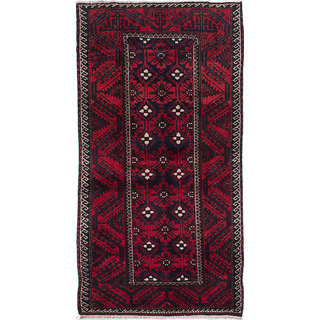 ecarpetgallery Hand-Knotted Finest Baluch Blue, Red Wool Rug (2'10 x 5'6)