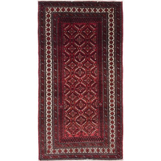 ecarpetgallery Hand-Knotted Finest Baluch Brown, Red Wool Rug (2'10 x 5'5)