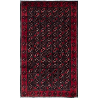 ecarpetgallery Hand-Knotted Finest Baluch Black, Red Wool Rug (4'5 x 7'4)