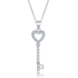La Preciosa Sterling Silver Diamond Accent Heart Key Pendant
