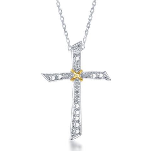 La Preciosa Two-tone Silver Diamond Accent Cross Pendant