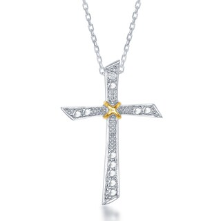 La Preciosa Two-tone Silver Diamond Accent Cross Pendant