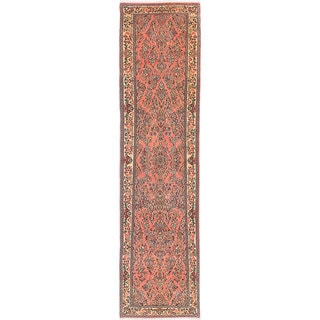 ecarpetgallery Hand-Knotted Sarough Pink Wool Rug (2'5 x 10'0)