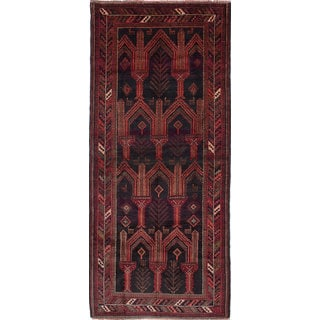 ecarpetgallery Hand-Knotted Finest Baluch Black, Red Wool Rug (3'11 x 8'10)