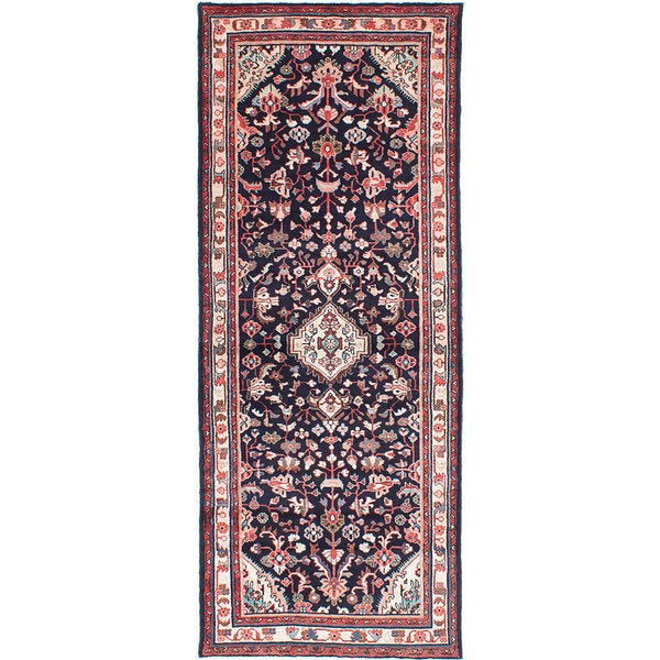 ecarpetgallery Hand-Knotted Hamadan Blue Wool Rug (3'8 x 9'5)