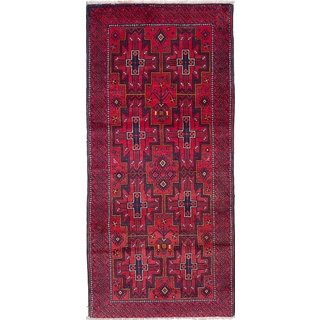 ecarpetgallery Hand-Knotted Finest Baluch Red Wool Rug (3'10 x 8'4)