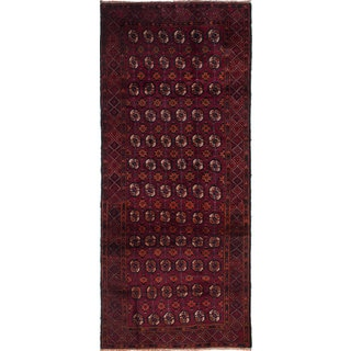 ecarpetgallery Hand-Knotted Finest Baluch Red Wool Rug (4'0 x 9'4)