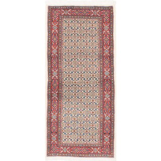 ecarpetgallery Hand-Knotted Mood Birjand Blue, Red Wool Rug (2'9 x 6'2)