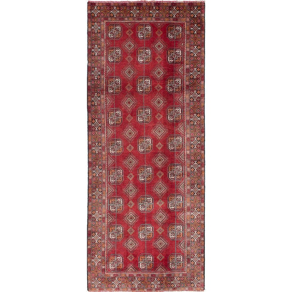 ecarpetgallery Hand-Knotted Finest Baluch Red Wool Rug - 3'10 x 9'8